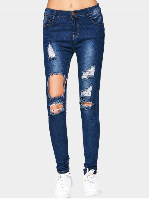 Cut Out Zerrissene Jeans - Dunkelblau L Mobile