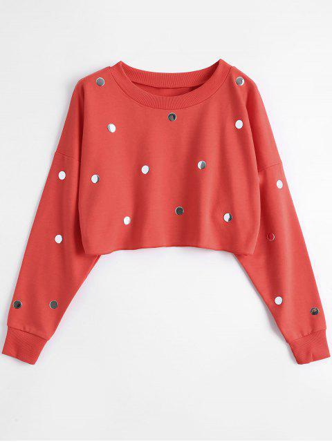 fashion Metallic Dots Raw Hem Cropped Sweatshirt - RED M Mobile