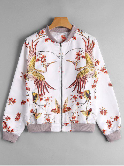 hot Phoenix Print Bomber Jacket - WHITE L Mobile