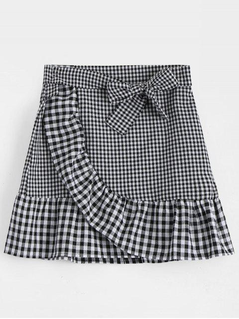 sale Belted Bowknot Ruffle Hem Checked Skirt - BLACK L Mobile