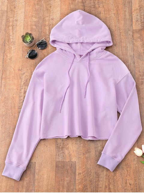 women Pullover Cropped Sporty Hoodie - LIGHT PURPLE M Mobile