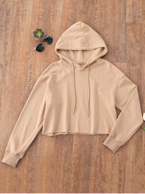 ladies Pullover Cropped Sporty Hoodie - KHAKI L Mobile