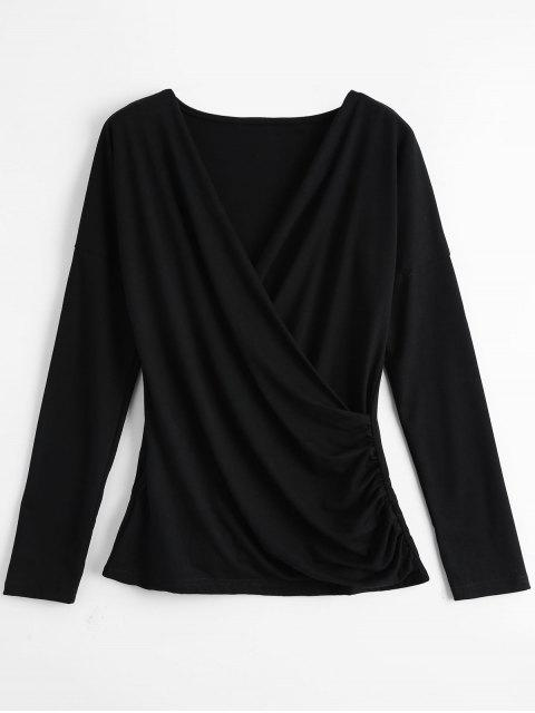 chic Draped Plunge Neck Top - BLACK M Mobile