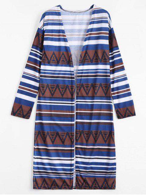 womens Drop Shoulder Striped Longline Blouse - MULTI S Mobile