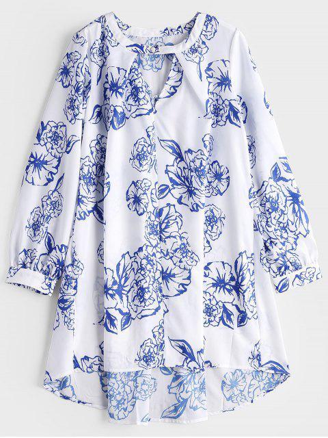 Robe Haute-Bas Imprimée Florale à Col Fendu - Blanc L Mobile