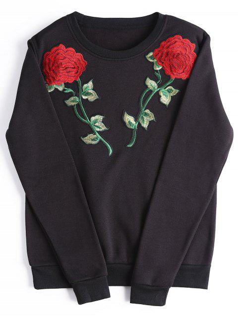 hot Casual Rose Embroidered Patches Sweatshirt - BLACK L Mobile
