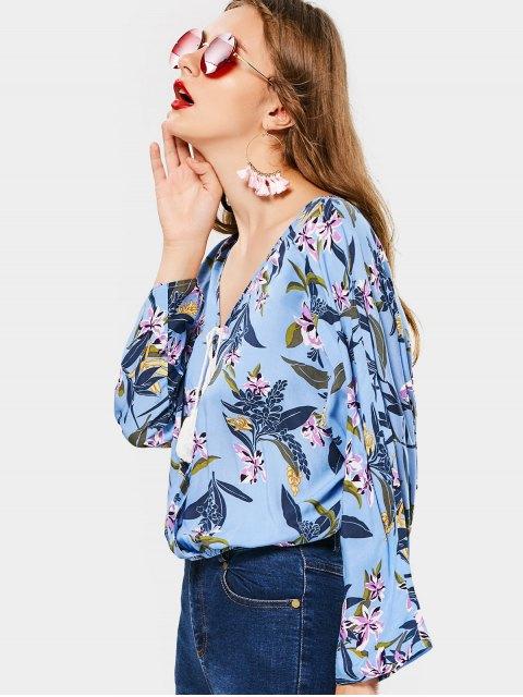 affordable V Neck Floral Tassels Blouse - FLORAL L Mobile