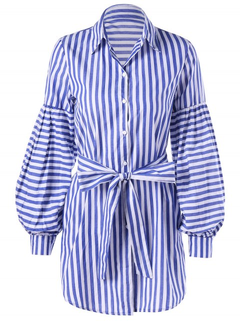affordable Striped Tie Belt Lantern Sleeve Shirt Dress - BLUE STRIPE XL Mobile