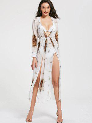 Leopard Print High Slit Chiffon Maxi Club Dress