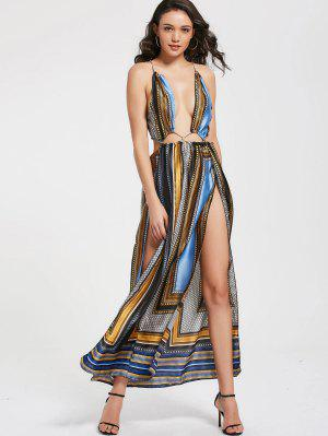 Printed Plunging Neck High Slit Maxi Club Dress
