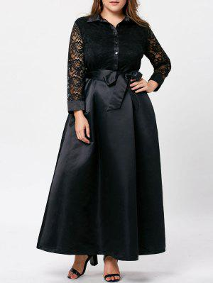 Plus Size Lace Trim Swing Maxi Kleid