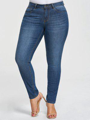 Plus Size Five Pockets Pencil Jeans - Denim Blue 4xl