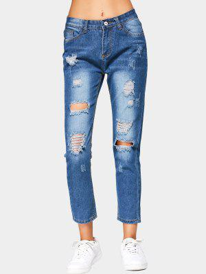 High Waist Ripped Cropped Jeans