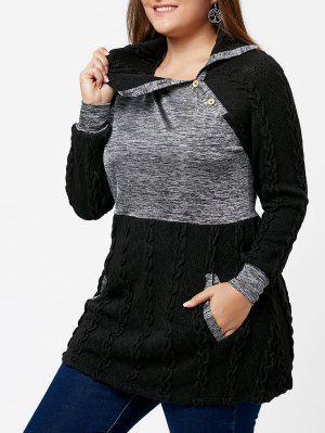 Sweater Grande Taille Tricoté Câble Contrasté à Poches