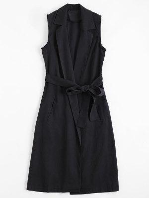 Lange Weste mit Unsichtbaren Taschen ,Revers und Gürtel