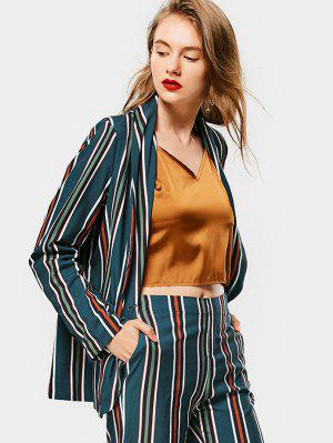 Buttoned Flap Pockets Stripes Blazer