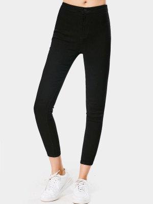 Jeans Élastique Skinny 7/8 à Taille Haute