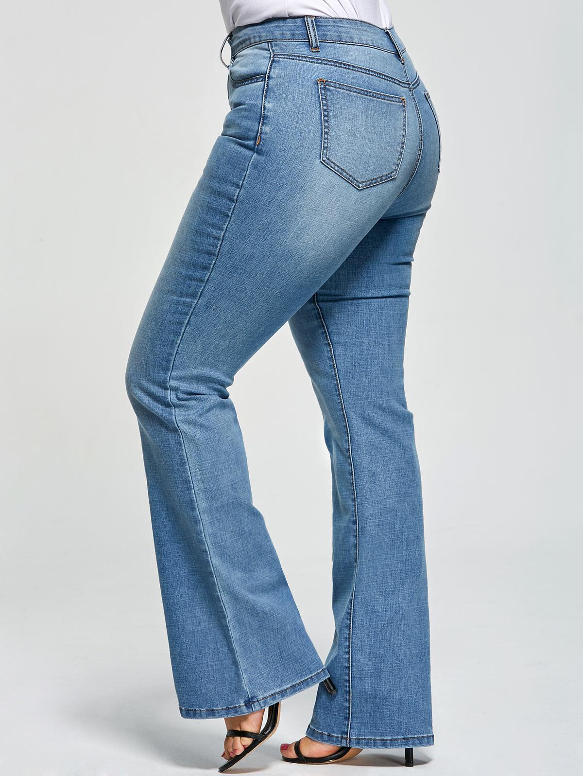Plus Size Five Pockets Flare Jeans 220951803