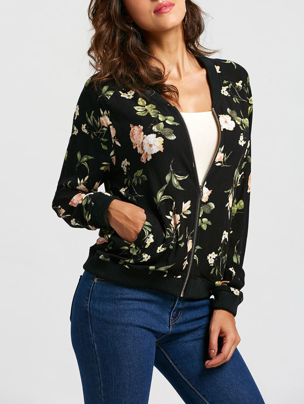 Zip Up Floral Leaf Print Bomber Jacket
