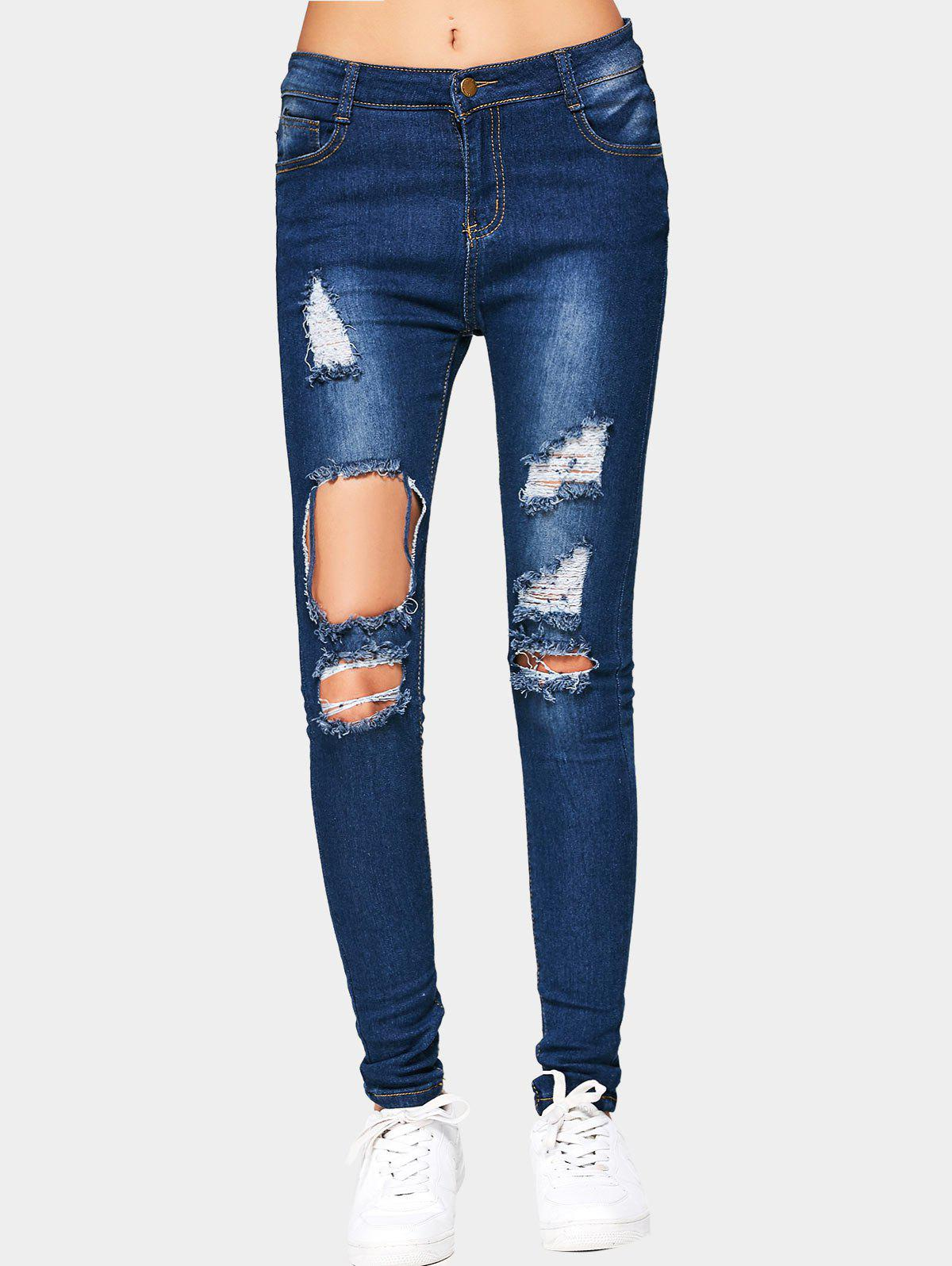 Cut Out Ripped Jeans 222360204