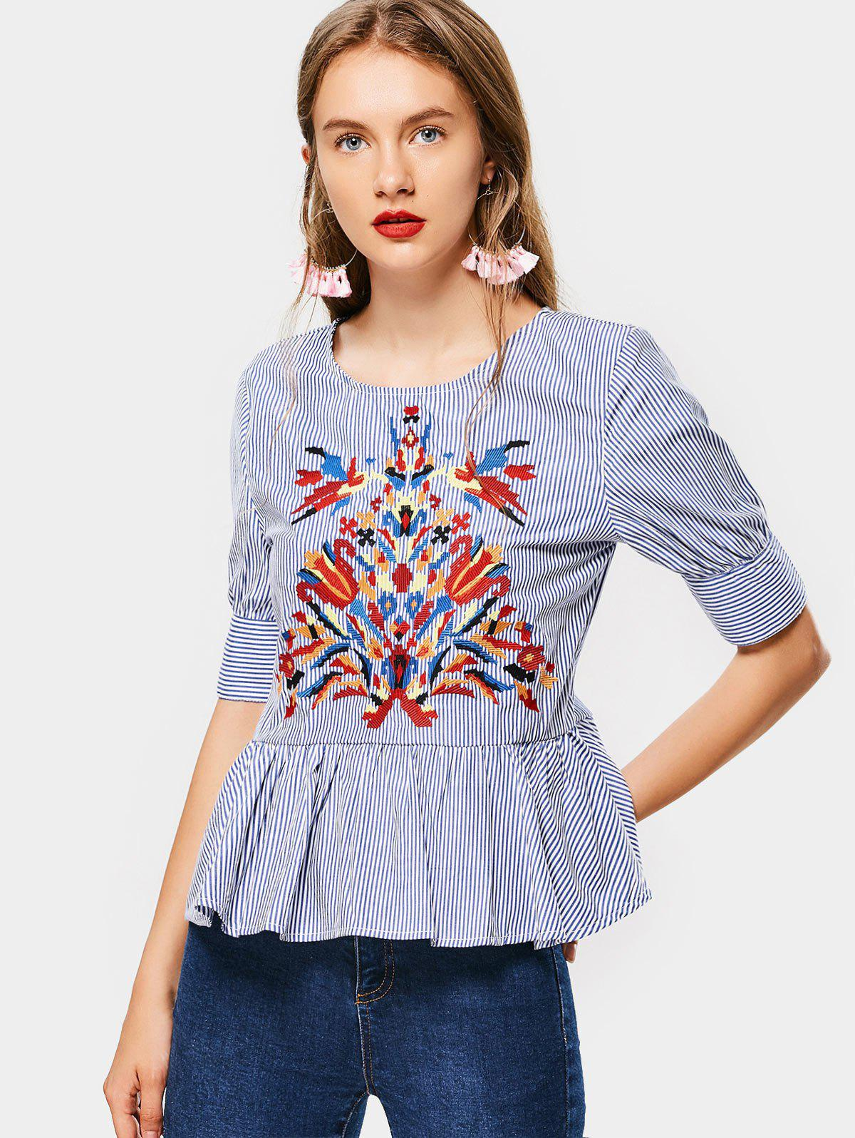 Floral Embroidered Stripes Flounces Bluse