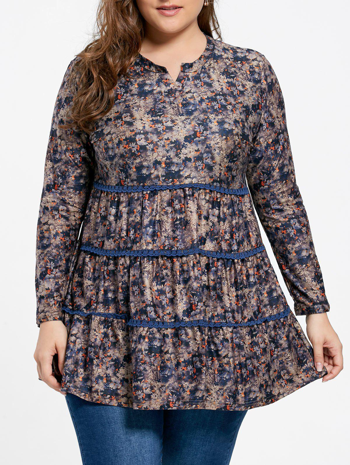 Plus Size Blumendrucke Chirted Bluse