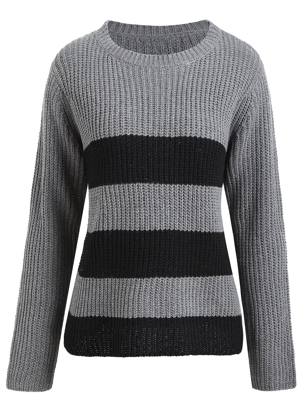 Plus Size Striped Ribbed Sweater 224549001
