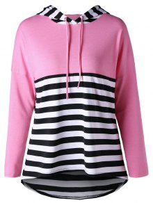 Striped High Low Hem Kapuzenpullover - Pink M