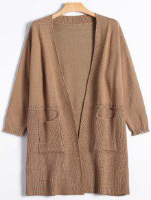 Buy Long Open Front Knitted Cardigan - LIGHT KHAKI ONE SIZE