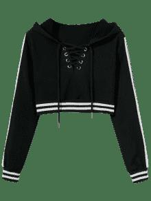 ... Striped Cropped Lace Up Hoodie ... 237d5efc0