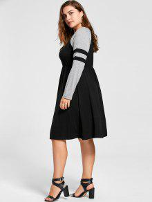 plus size long sleeve skater dress black: plus size dresses 5xl