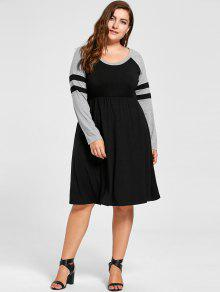 فستان تيه الحجم الكبير طويلة الأكمام - أسود 5xl