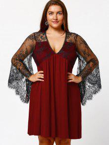 44% OFF] 2019 Empire Waist Plus Size Tunic Dress In BURGUNDY   ZAFUL