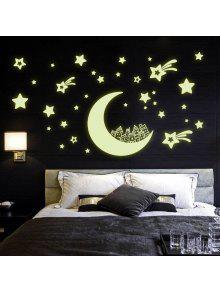 النجوم القمر ليلة السماء المطبوعة الجدار ملصق - مضيئة الخضراء