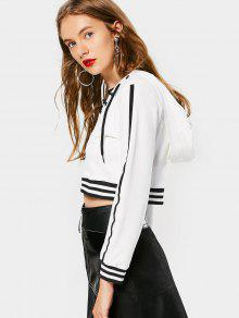 ... Stripes Insert Lace Up Cropped Hoodie ... 98f9b0aff