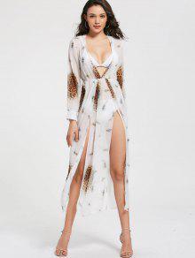 فستان نادي طباعة الفهد عالية انقسام شيفون ماكسي - أبيض M
