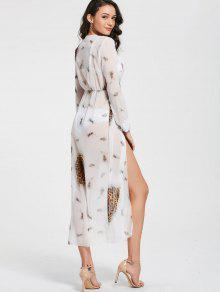 29% OFF  2019 Leopard Print High Slit Chiffon Maxi Club Dress In ... 801241719