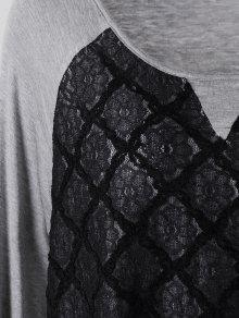 99fc1ae3d53 2019 Plus Size Lace Panel Raglan Sleeve T-shirt In BLACK AND GREY ...