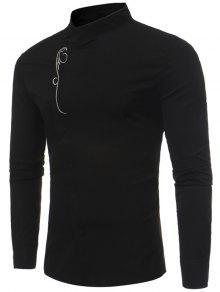 قميص ماندارين طوق غير متماثلة زر مطرزة - أسود Xl
