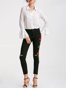 Floral Embroidery Skinny Ribbed Pants