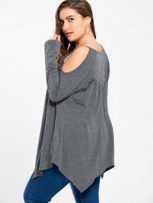 51501d54c552b 2019 Plus Size Openwork Cold Shoulder T-shirt In GRAY 2XL