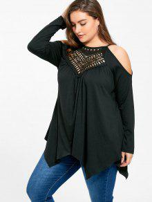 e84589400bf6f 42% OFF  2019 Plus Size Openwork Cold Shoulder T-shirt In BLACK 4XL ...