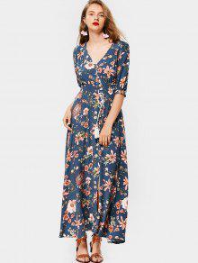 Botón Floral Con Flecos Delanteros Hasta Maxi Dress - Azul M