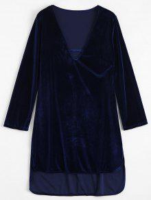 Plunging Cuello De Terciopelo Alto Vestido Bajo - Azul Zafiro L