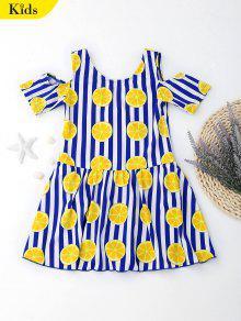 ملابس السباحة باردة الكتف طباعة البرتقال مخطط للأطفال - أزرق 5t