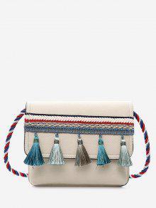 شرابة اللون حزام حجب حقيبة كروسبودي - أبيض فاتح