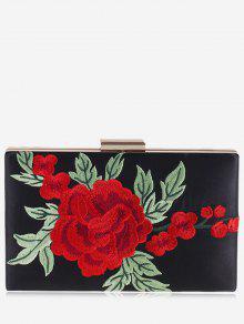 الزهور التطريز مخلب حقيبة - أسود