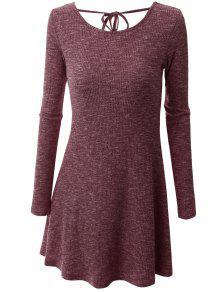 Mini Robe Grande Taille Dos Avec Lien à Nouer - Brique Rouge Xl