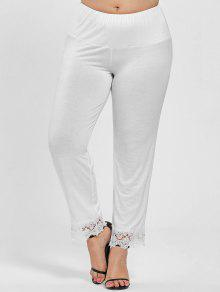 2d8be9615495b 45% OFF  2019 Plus Size High Waist Lace Trim Pants In WHITE 4XL