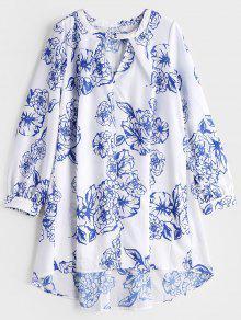 Vestido Alto De Impresión Floral Con Cuello De Cerradura - Blanco M